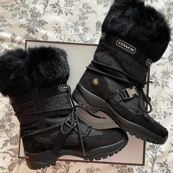 Coach Sahara Black Winter Boots Fur Trim Size 8